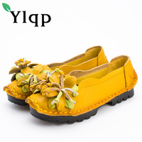 Ylqp Women Handmade Genuine Leather Shoes Woman Folk Style Retro Soft Bottom Shoes 2018 Spring Mother