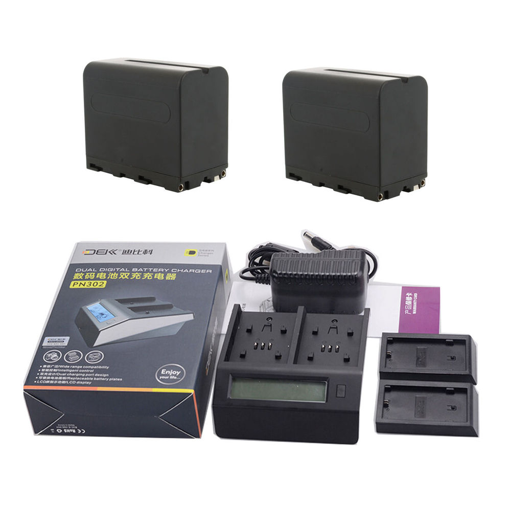2 NP-F970 NP-F960 6600mAh Battery for Sony 3000 200 820E 2000E TRV1 + Dual Charger sony np bg1 battery