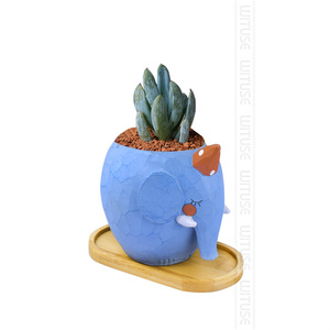 Image 5 - 2PCS/Lot Concise Style Flower Boxes Saucer Ceramic Succulent Plant Pots Bamboo Stand