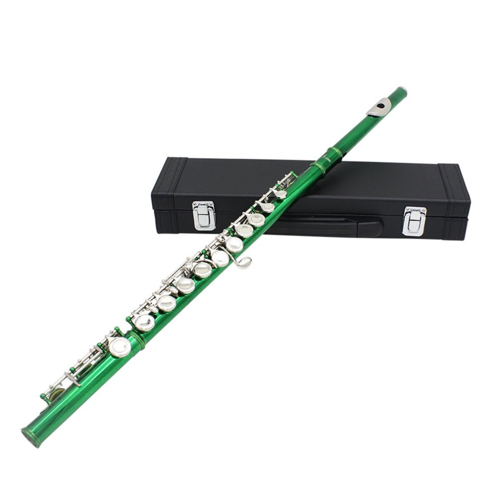 Flute Green Plated Cupronickel Musical Instrument with box good gift for child high quality 2018 New