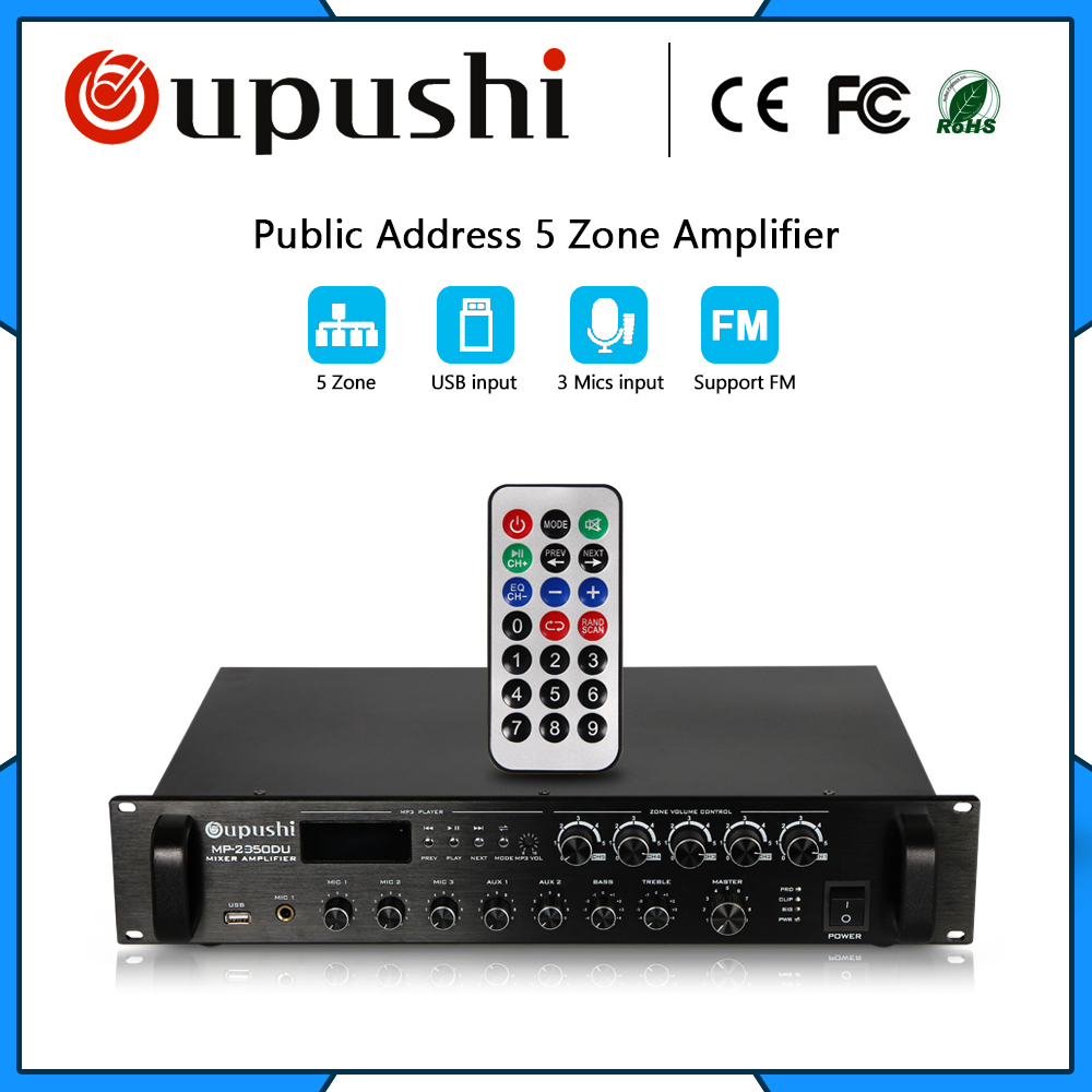 350W 5 zone control Professional power amplifier with usb sd fm oupushi