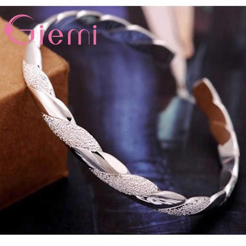 925 srebro Twining peeling i gładka otwarta bransoletka bransoletka mankietowa moda kobieta bransoletka srebrna kobiety dziewczyna najlepsze prezenty