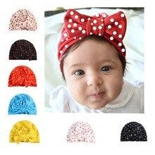 Модные Чепчик для новорожденного со звездным рисунком для малышей; с бантом узлом подшлемник для мальчиков кепки для девочек Весна-осень-зима