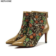NEMAONE New genuine leather ladies boots women 8cm high heels flower ankle boots woman party wedding dress shoes large size 42