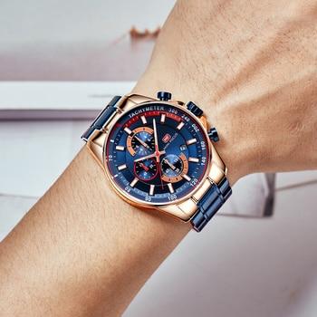 MINI FOCUS Luxury Brand Men Watches Stainless Steel Fashion Men's Wristwatch Quartz Watch Mens Waterproof Relogio Masculino Blue 2