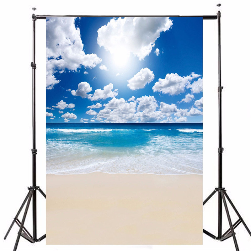 5x7ft Vinyl Photography Background Beach Blue Sky For Studio Photo Props Photographic Backdrops Cloth 1.5mx2.1m