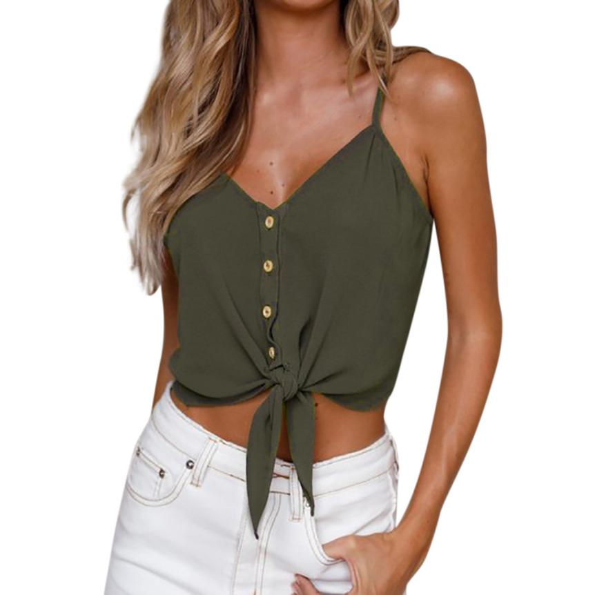 Tank     Top   Fashion Solid Button Sleeveless Chiffon Crop   Top   Shirt Blouse Women   Tops   Women's Clothing Camisole 18JUN13