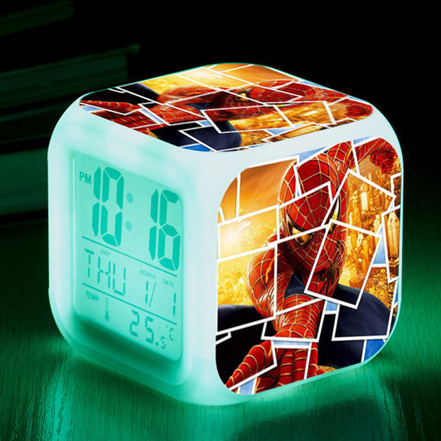 2018 New wholesale LED 7 Color Flash Changed Night Light Alarm Clocks Thermometer Spiderman alarm Clock free shipping