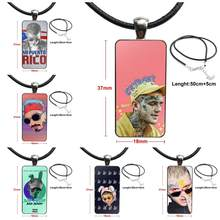 Glass Cabochon Pendant Necklace Rectangle Fashion Necklace For Girls Wholesale Bad Bunny Maluma Lil Peep(China)