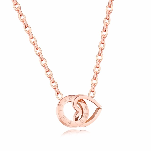 European and American creative rose gold necklace for Roman numerals