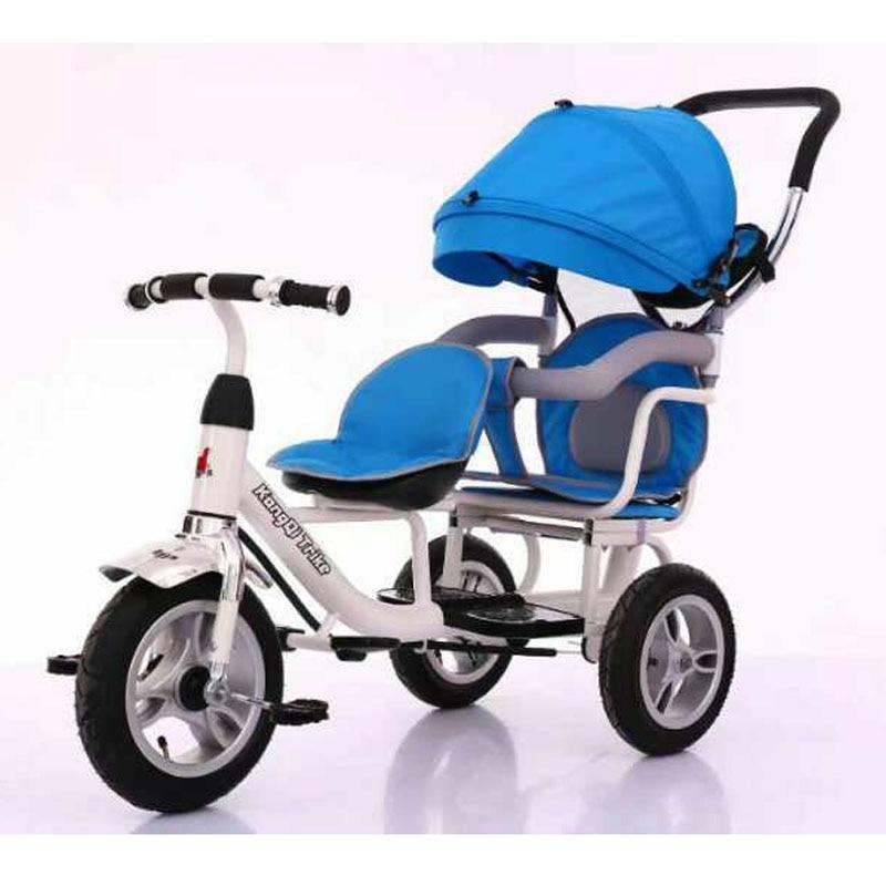 Коляска с двойным зонтом, трехколесный велосипед для детей 1-3-5 лет, двойная коляска для бега