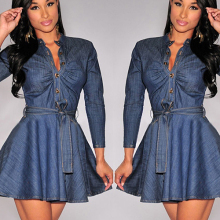 Women's Fashion Slim Fit Bowknot Belt Long Sleeve Shirt Denim Jean Dress smt102