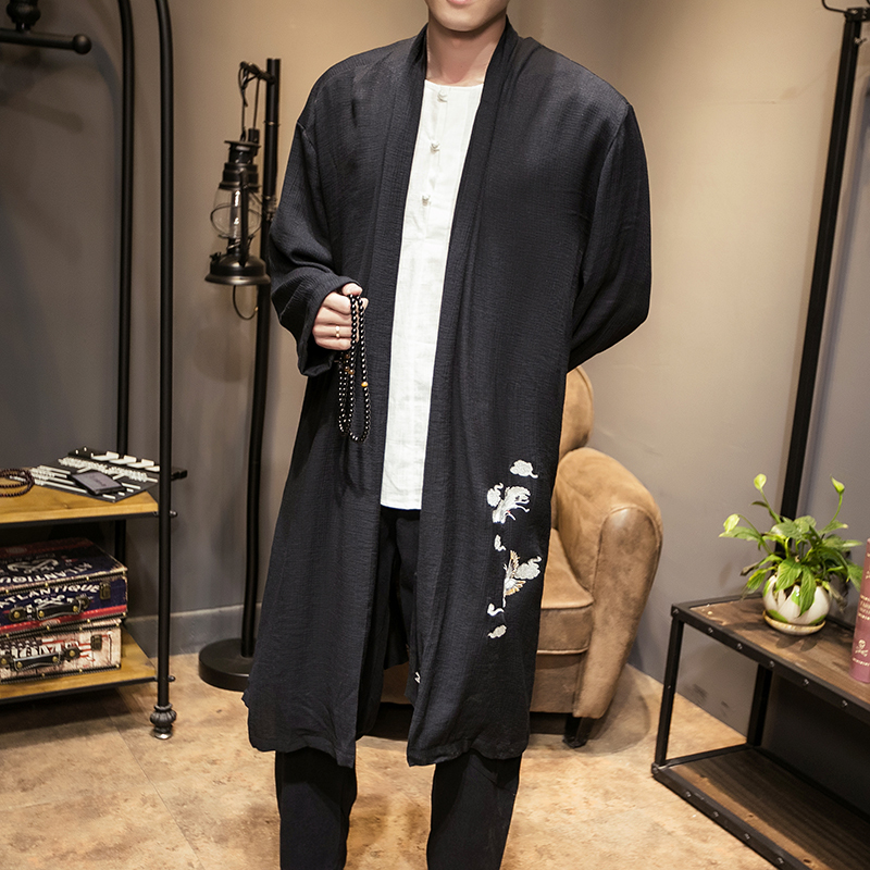 Long Kimono Jacket 2018 Spring Summer Embroidery Solid Vintage Jacket Men Trench Coat Japan Style Men Chinese Outwear Loose Fit