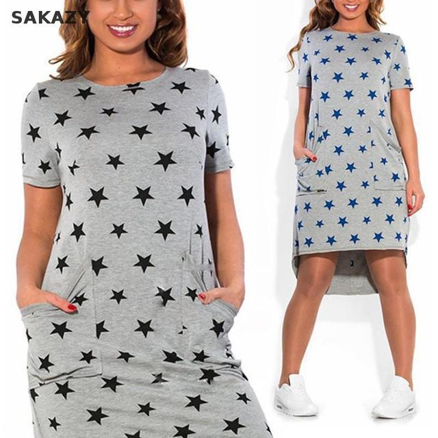 2017 Sakazy Women Plus Size Casual Dress Summer Fashion Loose Printed Short Sleeve O-neck Dress Vestidos Pocket Maxi Size L-6xl