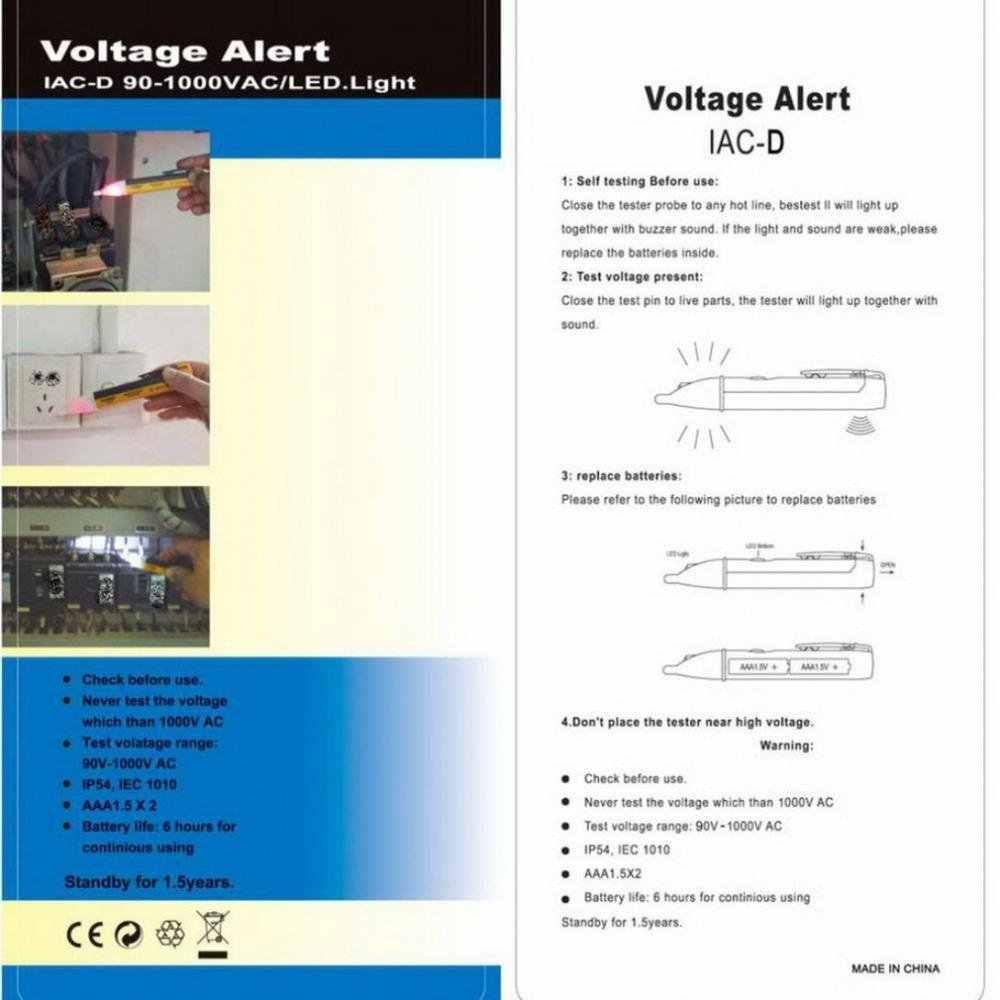 Elektrische Indicator 90-1000V Socket Muur Stopcontact Voltage Detector Sensor Voltage Tester Pen Led Licht