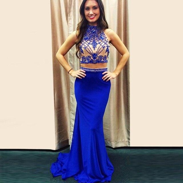 b3bf80304 Sirena cuello alto sin mangas con cuentas de cristal azul real de noche  dress vestidos de