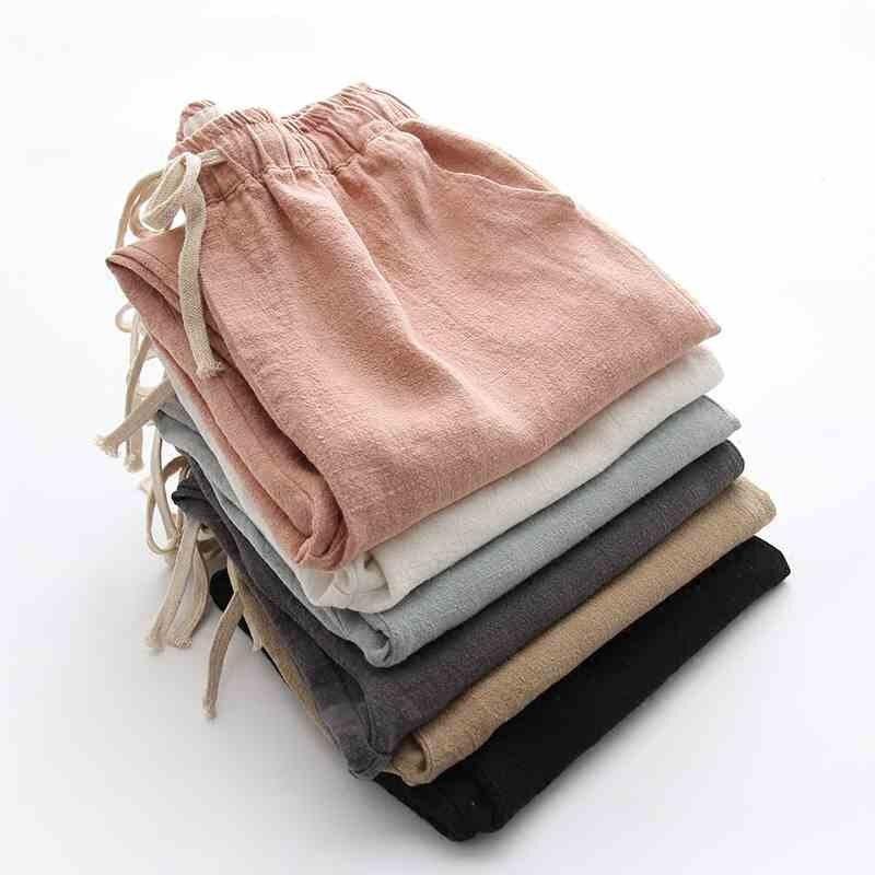 Spring Summer Linen Pants Women Casual Drawstring Waist Harem Pants Trousers Women Pentalon Femme Sweatpants Womens Pants C5265
