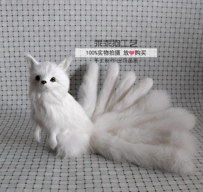simulation cute white standing  fox 30x14x16cm model polyethylene&furs fox model home decoration props ,model gift d859 simulation cute sleeping cat 25x21cm model polyethylene