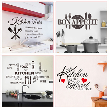Enjoy Your Cook Time Kitchen Rules Bon Appetit Quotes Wall Stickers For Home Decoration Waterproof Mural Art Diy Vinyl Decals 1