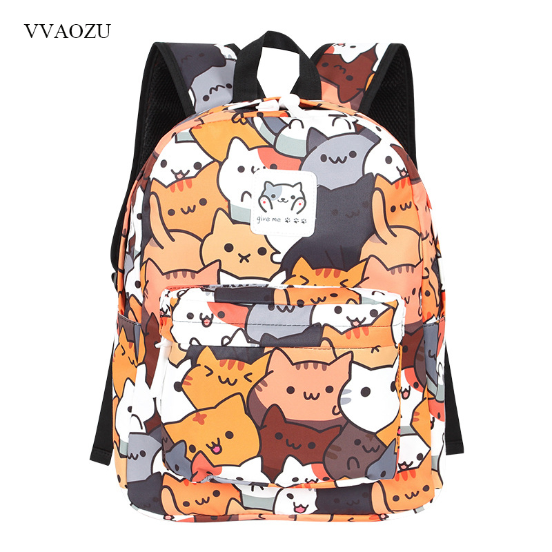 Anime Neko Atsume Women Backpack Cartoon Mochila for Girls Boys Travel Rucksack Cute Cat Printing Shoulder Bag for Teenage