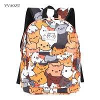 Anime Neko Atsume Mochila para mujer Mochila de dibujos animados para niñas niños Mochila de viaje lindo gato estampado bolso de hombro para adolescentes