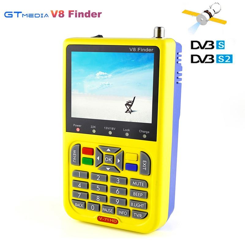[Genuine] Digital Satellite Finder Gtmedia V8 finder DVB-S2 FTA Sat finder 1080P High Definition 3.5 inch LCD V-71 HD Satfinder original dvb t satlink ws 6990 terrestrial finder 1 route dvb t modulator av hdmi ws 6990 satlink 6990 digital meter finder