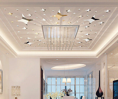 39pcs Le Stars Ceiling Decor Crystal Reflective Diy Mirror Effect Wall Stickers Home Tv Background In From Garden On