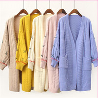 Women Free Size Sweater Long Cardigan 2019 Autumn Long Sleeve Loose Thick Knitted Cardigan With Pocket Embroidery Vestido