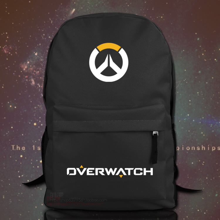 For Overwatch Unisex Backpack Nylon Casual Zipper Laptop Backpack Birthday Gift Gaming Black White School Bag ...
