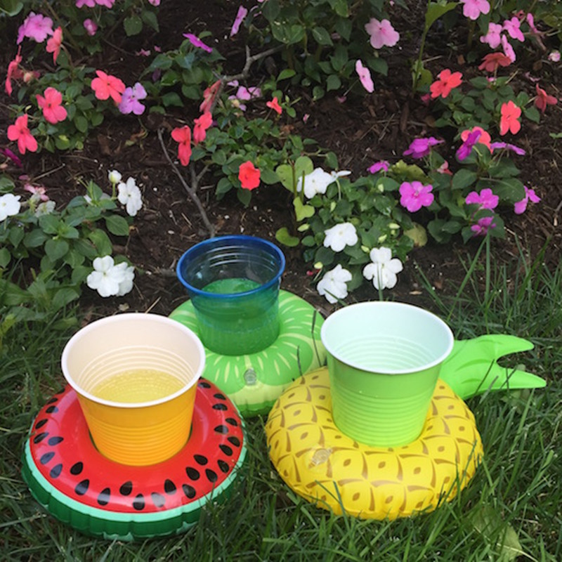 10PCS Fruit Shape Inflatable Coasters Cup Base Water Cup Holder Floating Drinks Cups Inflatable Toys Pool Party Decorations