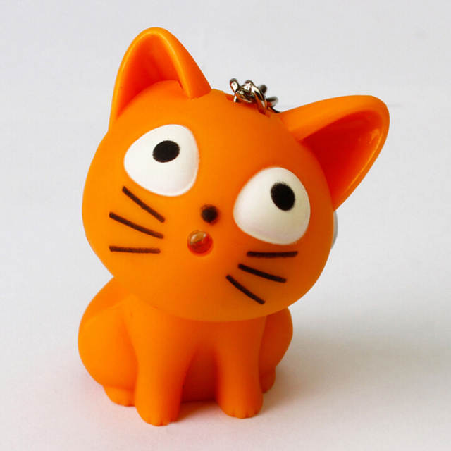 Novelty Lovely Cheese Cat Toys Kawaii Cartoon Design Led Keychain With Sound Flashlight Kid Pig Keyring