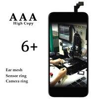 5 יחידות באיכות טובה עבור iPhone 6 בתוספת משלוח חינם שחור לבן החלפת LCD עם מגע + רשת אוזן + cameral מחזיק + בעל חיישן