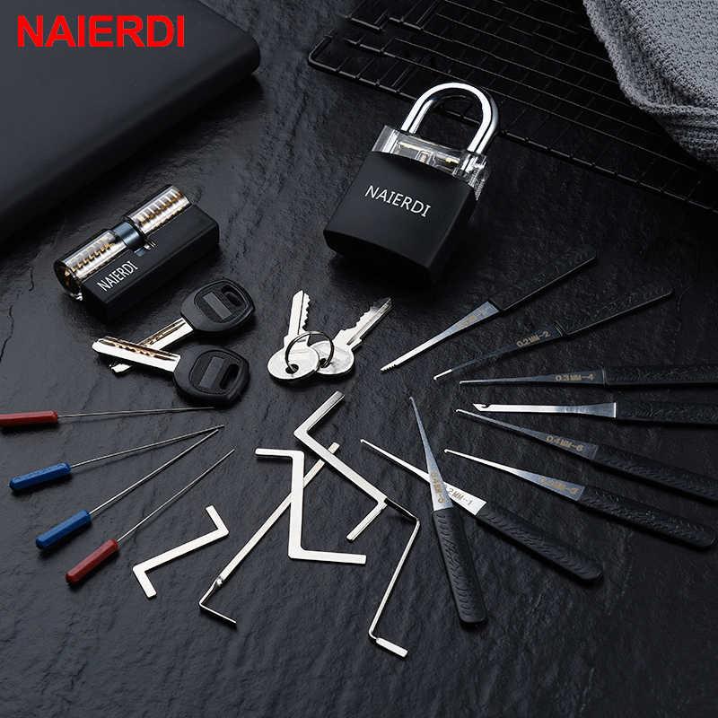 NAIERDI narzędzia ręczne do ślusarki dostaw blokada Pick ustawić przezroczyste widoczne praktyka kłódka z złamany klucz do wyjmowania haczyków sprzętu