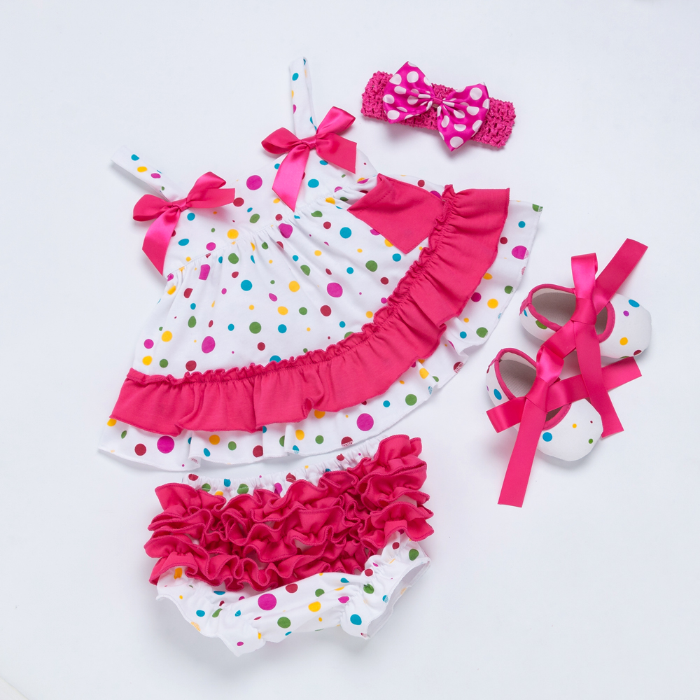 Lovely Beautiful Baby Girl Clothing Set Cotton Dot Rose Red Sling Ruffle  Bloomers Shoes 4pcs Swing top Set Girls Clothes-in Clothing Sets from  Mother   Kids ... 54833ff6acff