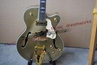 China's OEM firehawk custom shop Shining metal amber Falcon Semi Hollow Jazz Electric Guitar with Bigsby