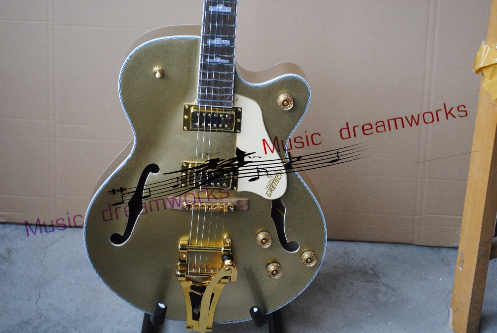 China's OEM firehawk custom shop Shining metal amber G1retsch Falcon Semi Hollow Jazz Electric Guitar with Bigsby