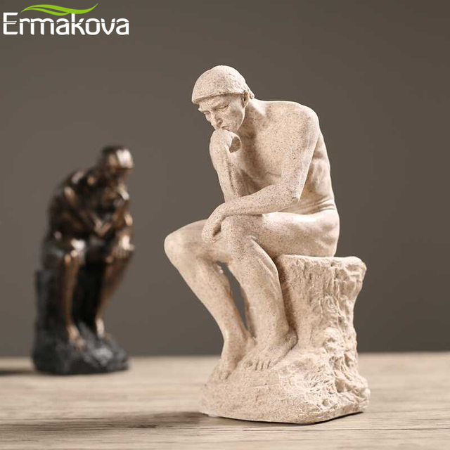 ERMAKOVA Abstract Art Thinker Statue Thinking of You Figurine Natural Sandstone Craft Sculpture Modern Home Office Decoration 2