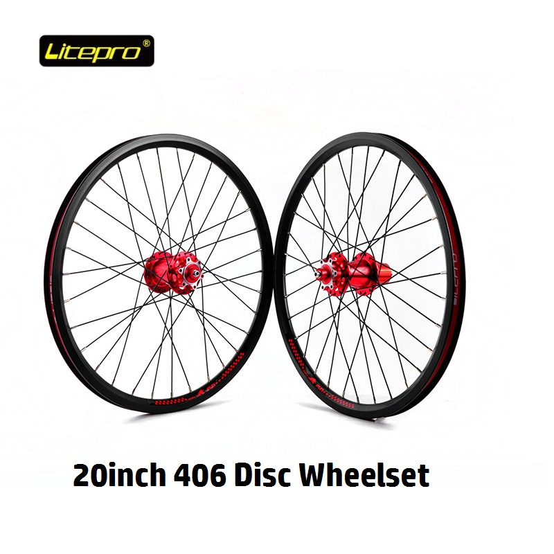 Bicycle <font><b>Wheel</b></font> Set Folding Bike 20inch <font><b>406</b></font> <font><b>Disc</b></font> Brake Wheelset 32H Hub Front Rear Quick Release and High Pressure Tire Cushion image