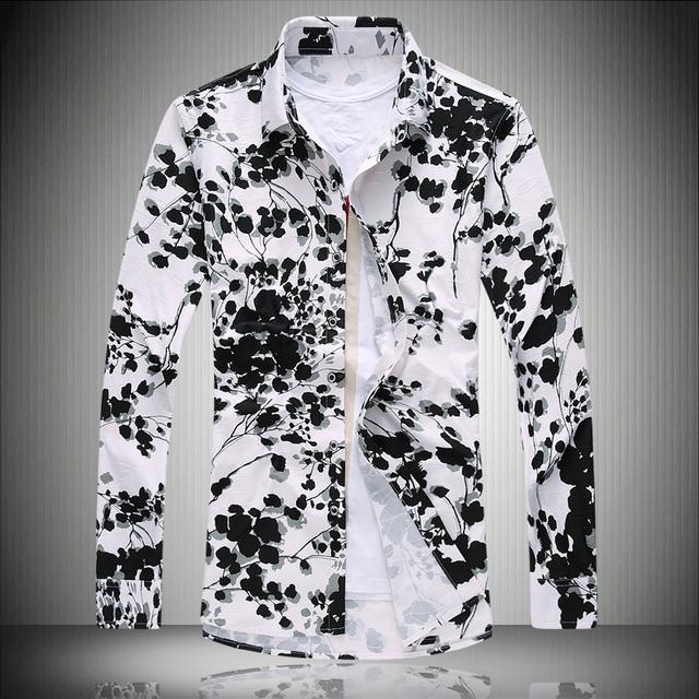 Toturn Impreso hombres de la camisa de manga larga de flores más el tamaño grande 7XL grasa traje de camisa camisa de la flor blanca de la manera de los hombres de la personalidad me