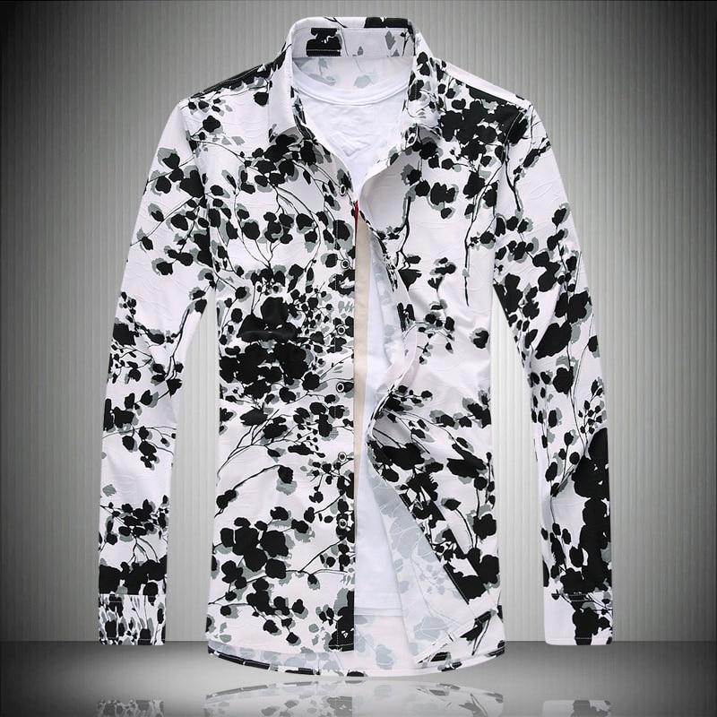 toturn Printed shirt men long sleeve flower plus big size 7XL fat ...