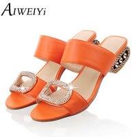 AIWEIYi 여성의 패션 여름 신발 두꺼운 뒤꿈치 플립