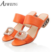 AIWEIYi Woman s Fashion Summer Shoes Thick Heels Flip Flops Gladiator Platform  Sandals Rhinestone Slides Slippers Size 667bb0e93821