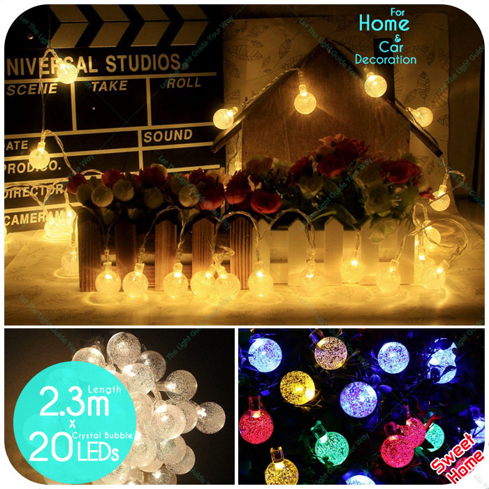 Home Decoration Light 20 LEDS Crystal Ball Bulb Patio String Lights Tree Decor For Wedding Shop Party Decoration Waterproof