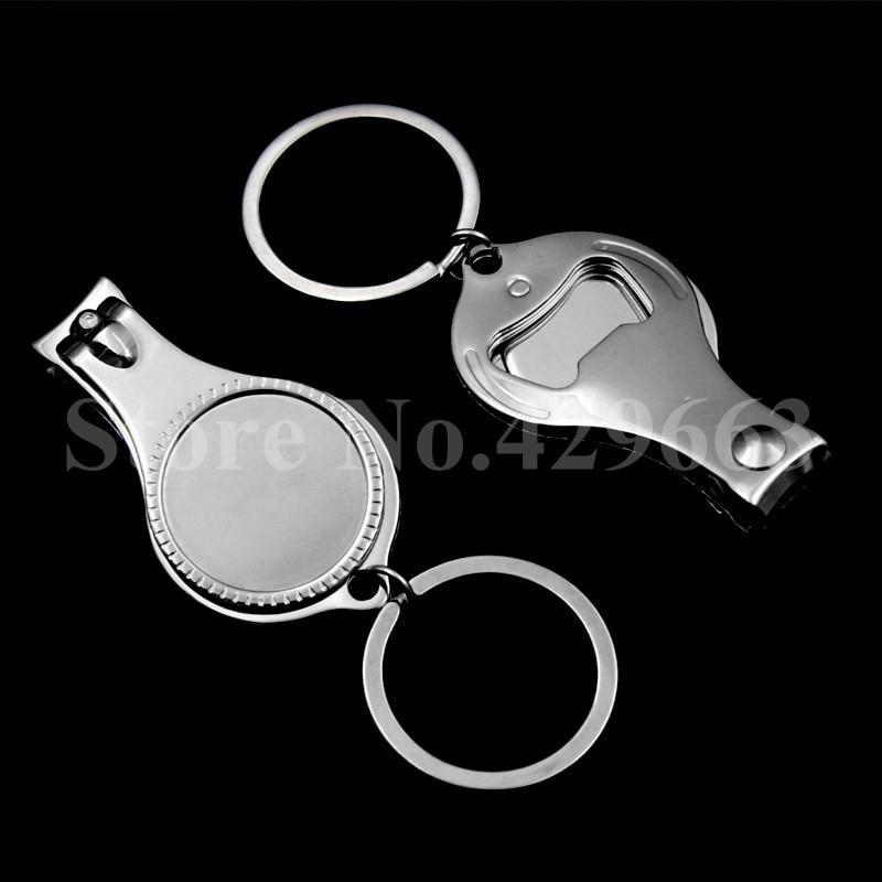 Takı ve Aksesuarları'ten Anahtar Zincirleri'de 100 adet/grup Metal Üç bir Tırnak Makası Anahtarlık tırnak makası şişe açacağı Anahtarlıklar Özel LOGO'da  Grup 1