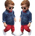 Retail 2017 Spring children's clothing Sets baby suit kids suit kids cotton long sleeve denim shirts + red casual pants YAA038