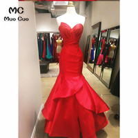 2018 Mermaid Red evening Dresses Long with Pleat Vestido Longo Hard Satin Lace Up Back Formal Evening Party Dress 100% Real