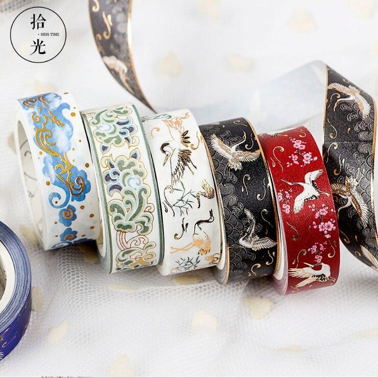 Blue Gold Wave Foil Washi Tape DIY Decoration Scrapbooking Planner Masking Tape Adhesive Tape Label Sticker Stationery