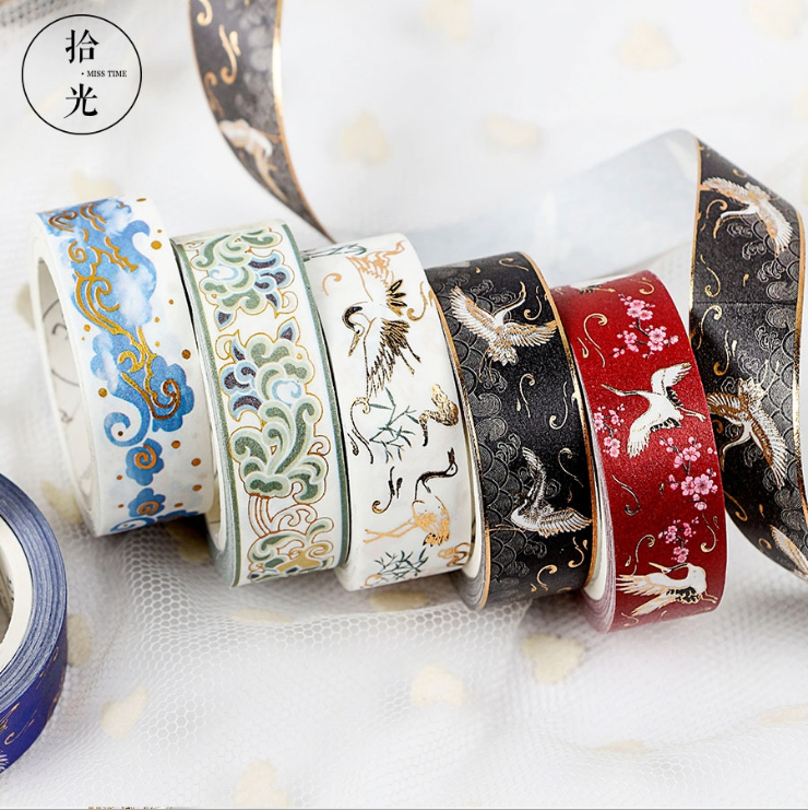 Blue Gold Wave Foil Washi Tape DIY Decoration Scrapbooking Planner Masking Tape Adhesive Tape Label Sticker Stationery
