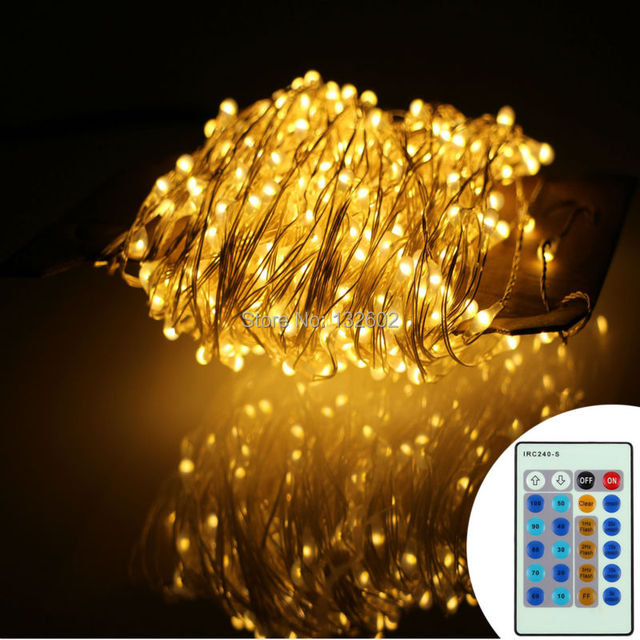 99ft 30m 300 Leds Silver Wire Warm White Led String Lights Starry Fairy 12v Adapter Wireless Remote