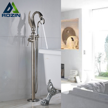 Modern Brass Bird Shape Spout Free Standing Tub Faucet One Handle Bathtub Mixer With Handshower Brushed Nickle